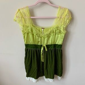 Free People green velvet and satin blouse #621